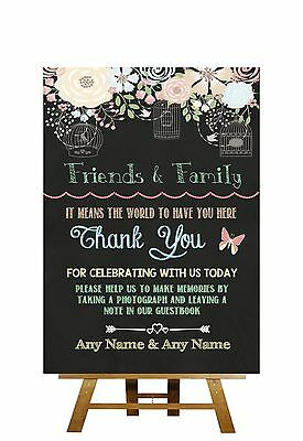 Pretty Chalkboard Style Please Sign Our Guestbook Personalised Wedding Sign