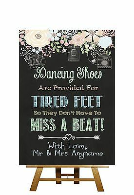 Pretty Chalkboard Style Dancing Shoes Flip Flops Personalised Wedding Sign