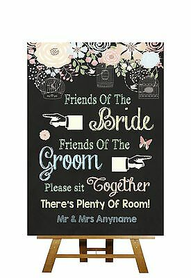 Pretty Chalkboard Style Sit Together Seating Plan Personalised Wedding Sign