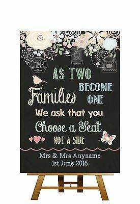 Pretty Chalkboard Style Choose A Seat Not Side Personalised Wedding Sign