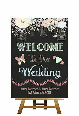 Pretty Chalkboard Style Welcome To Our Wedding Personalised Wedding Sign