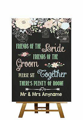 Pretty Chalkboard Style Please Sit Together Personalised Wedding Sign