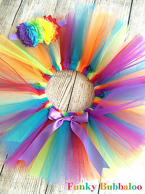 Rainbow Baby & Girls Tutu & Headband, Bow Cake Smash Photo Prop Party Birthday