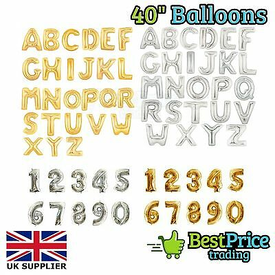 "Gold & Silver 40"" Alphabet Letter Number A-Z Foil Helium Balloons *NAME PARTY"