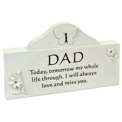 Dad Butterfly Message Graveside Memorial Plaque Ornament Grave Decoration