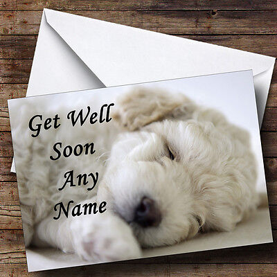 Bichon Frise Dog Personalised Get Well Soon Greetings Card