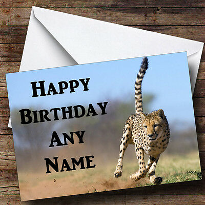c157; Large Personalised Birthday card; Custom made for any name; Funny cheetah