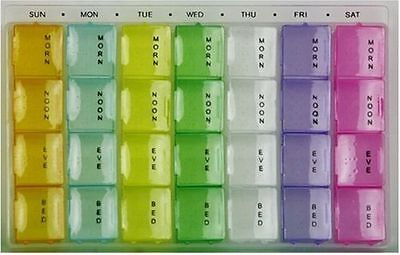 7 Days Weekly Pill Box Organizer MedicineTablet Storage Dispenser 28 Compartment