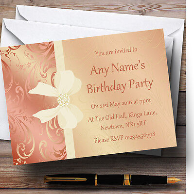 Cream Pale Coral Peach Pink Bow Birthday Party Personalised Invitations