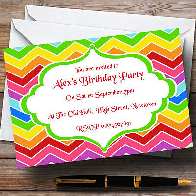 Bright Rainbow Colours Theme Personalised Birthday Party Invitations - Th16