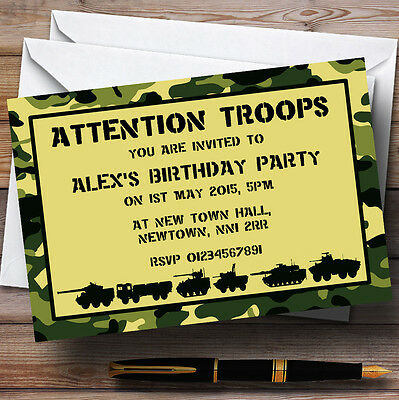 Army Troops Camouflage Personalised Birthday Party Invitations - TH102