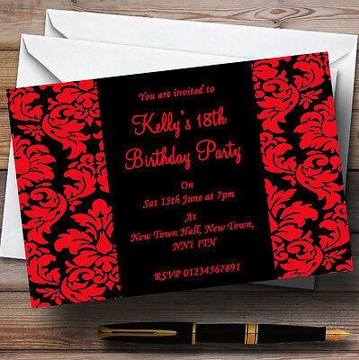 Floral Black Red Damask Personalised Party Invitations 9 04