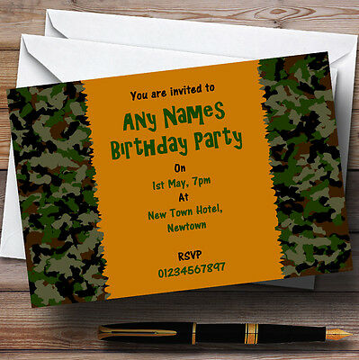 Army Camouflage Personalised Party Invitations