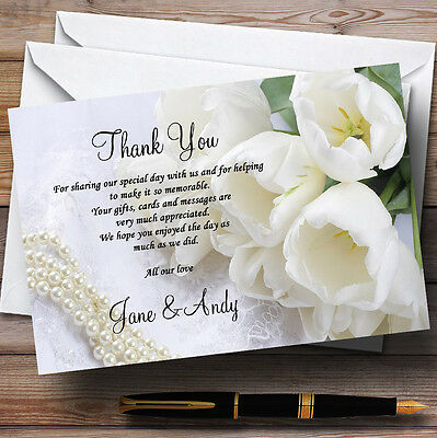 White Rose And Romatic Lace Personalised Wedding Thank You Cards