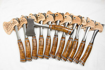 Еxclusive Set of 12 Personalized Engraved Axes with Engraved Leather Grip Handle