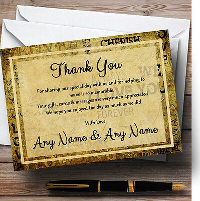 Vintage I Love You  Postcard Style Personalised Wedding Thank You Cards