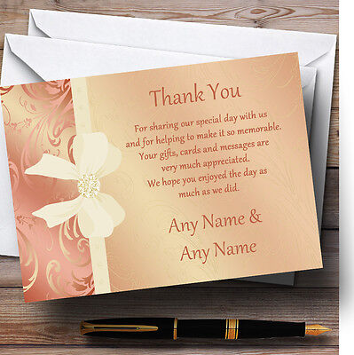Cream Pale Coral Peach Pink Bow Wedding Thank You Cards