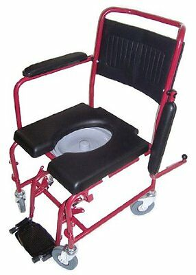 MedMobile 2-in-1 Commode / Shower Wheelchair with Drop-down Armrests  Locking