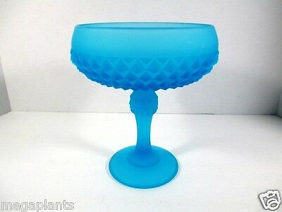 Vintage Blue Satin Indiana Glass Diamond Point Tall Open Compote Pedestal Dish