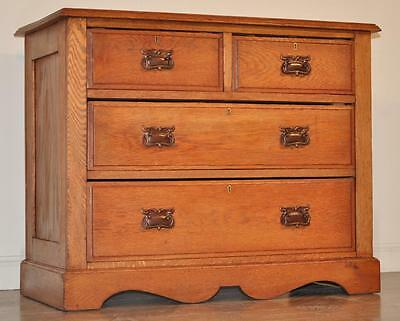 *ATTRACTIVE SIMPLE SMALL VINTAGE LIGHT OAK CHEST OF THREE 3 DRAWERS*