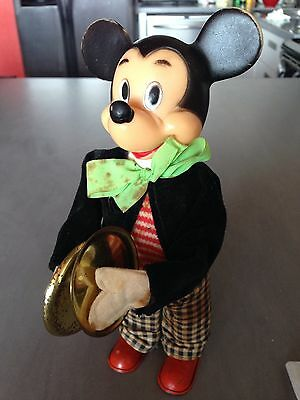 Vintage Mickey Mouse Wind Up Toy W/ Cymbals Works Great Super Rare Disney Figure