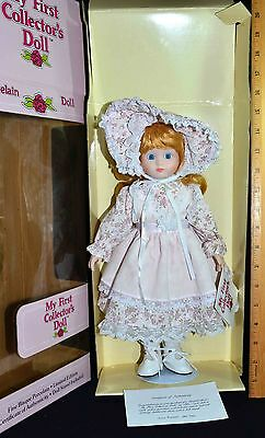 """Cute MY FIRST COLLECTORS PORCELAIN DOLL 14"""" Blonde Dressed in Pink JRL Toys NIB"""