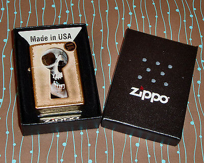 Zippo 28540 Keyhole Skull Gold Dust NEW In Box Windproof Lighter