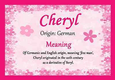 Cheryl Personalised Name Meaning Certificate