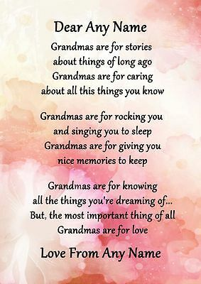 Pink Floral Grandmas Are For Love Personalised Poem Certificate
