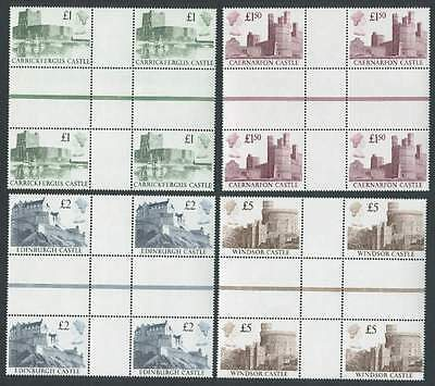 1988 Castles £1 to £5, Central Interpanneau Blocks of 4, Fine Unmounted Mint.