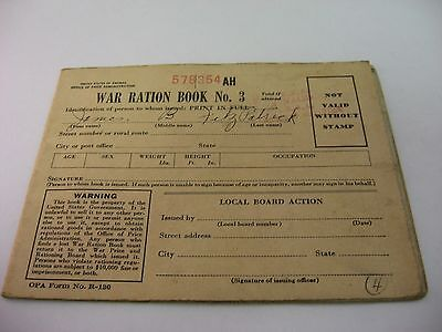 Vintage 1943 United States WAR RATION BOOK NO 3 578354 AH w/ Stamps