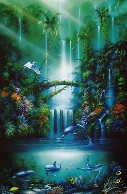 2001 DAVID MILLER ENCHANTED POOL POSTER PRINT DOLPHINS WATERFALL NEW 22x34