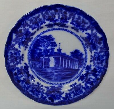 "OLD ADAMS & CO ENGLAND FLOW BLUE ""HOME OF WASHINGTON, MT VERNON"" PLATE - NO RESV"