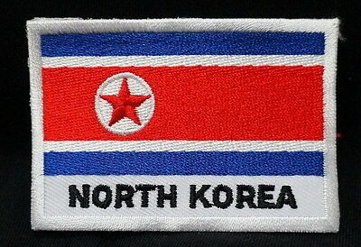 "NORTH KOREA FLAG EMBLEM PATCH SEW ON EASY TO USE 2""x3"""