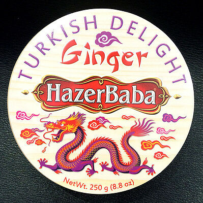 HazerBaba Ginger Turkish Delight Round Wooden Gift Box 250g