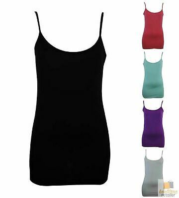CAMISOLE TOP Long Cami Top Women's Singlet Summer Casual Wear Basic Tank Shirt