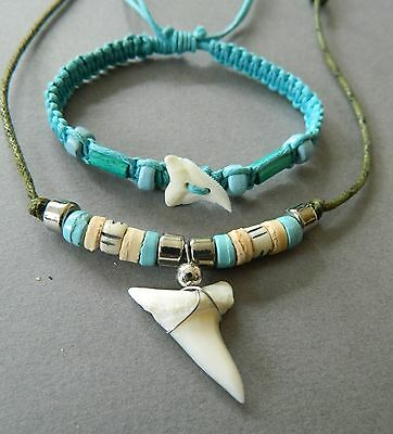 SHARK TOOTH NECKLACE BRACELET SET TURQUOISE 2cm large sharks teeth cord adjusts