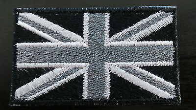 Union Jack  Patch Monocrome /Badge/Embroidered/Iron on/Sew on/Free Postage