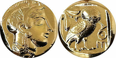 For Percy Jackson Fans! Novelty Coin Mark of Athena Athena & Her Owl, Gold Plate