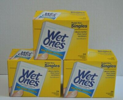 3 Boxes Wet Ones Antibacterial Hand Wipes Singles Citrus Scent 24 Wipes Each Box