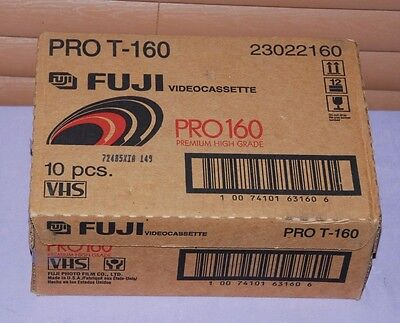 Lot of 10 Fujifilm 8 Hours (EP) High Quality HQ T-160 Blank VHS Video Tapes--NEW