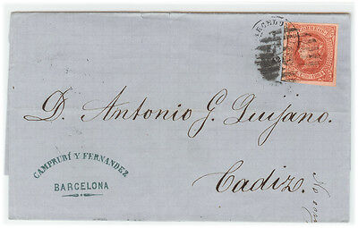 Spain cover 1864 Barcelona to Cadix - Fresh