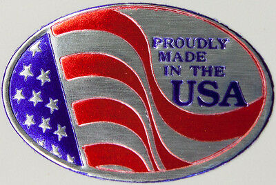 "50 1"" x 1-1/2"" Oval 'Proudly Made in the USA' Foil Stamped Labels Seals Stickers"