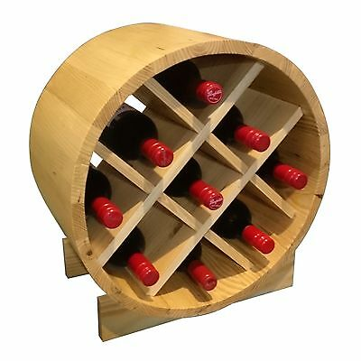 9 Bottle Wine Barrels - Premium Timber Wine Rack Display & Storage Solution