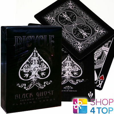 ELLUSIONIST BLACK GHOST 2nd EDITION BICYCLE PLAYING CARDS DECK MAGIC TRICK USPCC