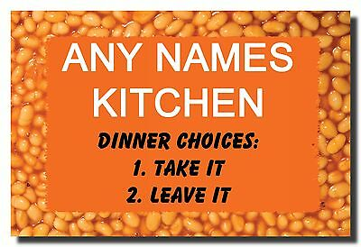Funny Baked Beans Kitchen Personalised Jumbo Fridge Magnet
