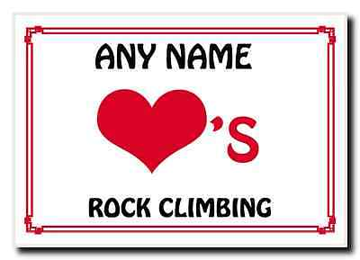 Love Heart Rock Climbing Personalised Jumbo Magnet