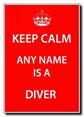 Diver Personalised Keep Calm Jumbo Magnet