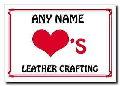 Love Heart Leather Crafting Personalised Jumbo Magnet
