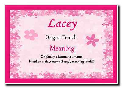 Lacey Personalised Name Meaning Jumbo Magnet